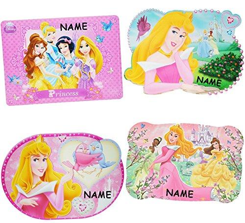 alles-meine.de GmbH 2 Stück _ Unterlagen -  Disney Princess / Prinzessinnen  - incl. Name - 42 cm * 29 cm - Platzset & Tischset - abwischbar / Tischunterlage ()