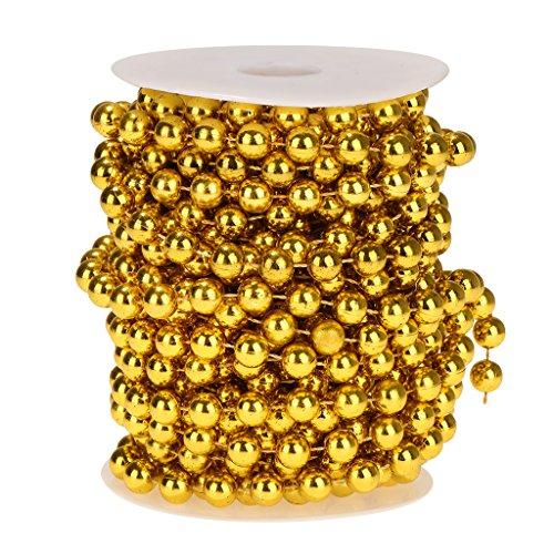 non-brand Sharplace Kunststoff Perlengirlanden Perlengirlande Dekoschnur Perlenkette - Gold, 10m 10mm