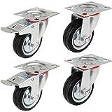 YAOBLUESEA Transportwielen, zwenkwielen, meubelwielen, zware wielen, industriële zwenkwielen, 85 mm/100 mm/125 mm diameter (1