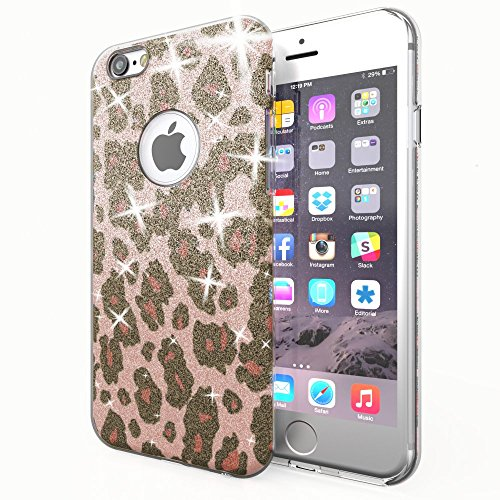 NALIA Handyhülle kompatibel mit iPhone 6 6S, Glitzer Leopard Ultra-Slim Silikon-Case Back-Cover Schutz-Hülle, Glitter Leo Sparkle Handy-Tasche, Dünnes Bling Strass Thin Smart-Phone Etui - Rosa Pink Leopard Hard Case Cover