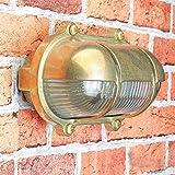Außenwandlampe Messing Maritim Glasschirm Käfig IP64 Schiffslampe Außenleuchte Robust Hauswand Balkon