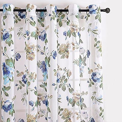 Top Finel cortina transparente de paneles para sala de estar,visillo de jardin bloom, 140 CM anchura por 215 CM longitud,ojales,solo