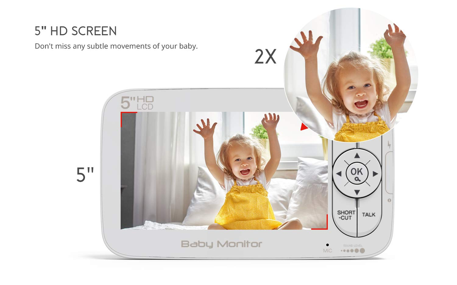 "Baby Monitor, COOAU 5"" Wireless Video Baby Monitor with 1280x720P HD Screen, 2000mAh Rechargeable Battery, Support Two-Way Audio, Infrared Night Vision, Temperature Monitor, 2.4GHz Safe Connection COOAU 👶 5"" 1280*720P HD LCD Screen with 1 Million Pixel Camera: COOAU baby monitor comes with a high quality screen and camera, bring a crystal clear view, no grainy and washed out, even in dark. 👶 Pan Tilt & 2X Zoom-in: You can adjust the angle via 355*120 degree pan/tilt remote control, zoom right in and see if your baby's eyes were opened or closed without any issue. 👶 Infrared Invisible Night Vision: Using 940nm infrared light, effectively protect your baby's eyes. Up to 5 meters night vision viewing distance, pick up images of your baby in dark or low light conditions. 3"