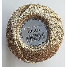 Gründl Glitzergarn - Ovillo de hilo para croché (25 g, brillante), varios colores 09 champagne