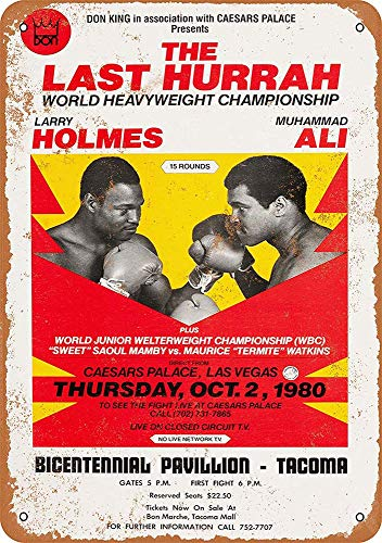 CDecor Muhammad Ali vs. Larry Holmes Blechschilder, Metall Poster, Retro Warnschild Schilder Blech Blechschild Malerei Wanddekoration Bar Geschäft Cafe Garage