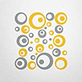 WANDfee® Wandtattoo 50 Retro Kreise AC0712010 Größe Ø 2 x 20 cm, 6 x 15 cm, 10 x 10 cm, 20 x 6 cm, 12 x 3 cm Farbe grau gelb