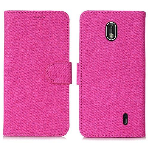 DDJ Nokia 1 Hülle,PU Leder Tasche Flip Klappbares Case Cover Standfunktion Kartenfach Magnetverschluß TPU Stoßstange Wallet Schutzhülle Handyhülle für Nokia 1 (Rose)