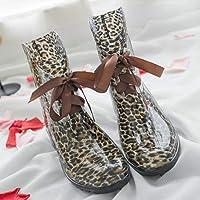 Bottines De Pluie Femme,L'Automne Et L'Hiver Imperméables Anti Slip Slip On Court Cheville Bottes De Pluie Femme Leopard…