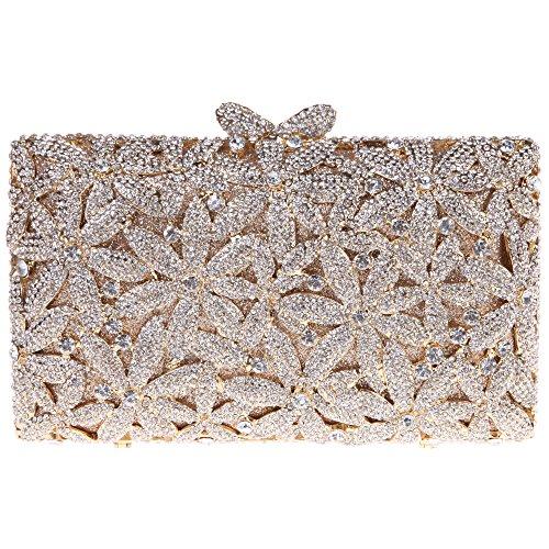 Bonjanvye Glitter Floral Sakura Purses and Handbags for Girls Wedding Party Dress Bag AB Red Gold