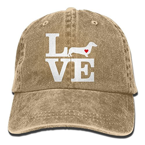 2018 Adult Fashion Cotton Denim Baseball Cap I Love Dachshund-1 Classic Dad Hat Adjustable Plain Cap