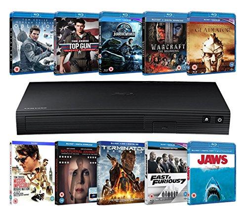 Samsung BD-J5500 Blu-ray Player + 10 Blu-rays (Limited Edition Zoom Exclusive Hardware Bundle) [Blu-ray]