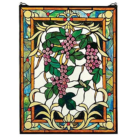Design Toscano HD597 Vitrail Vignes Multicolore 1,5 x 48,5 x 63,5 cm