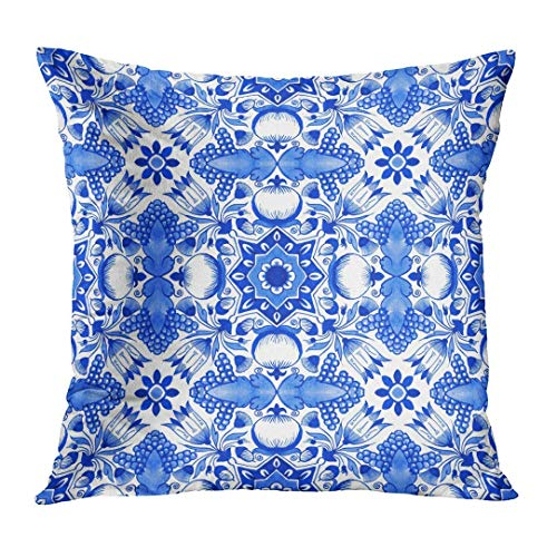 Yuerb Kissenbezüge Delft Blue Watercolour Traditional Dutch Floral with Tulips Pomegranates Grape Bunches Acorns Decorative Pillow Case Home Decor Square 18x18 Inches Pillowcase - Delft Tulips