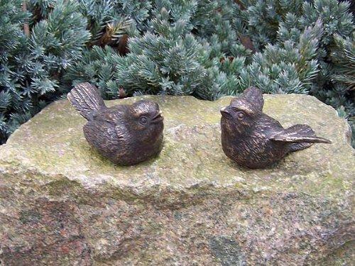 Unbekannt Bronzeskulptur Vogelpärchen zweiteilig Dekorationsfigur Gartendekoration