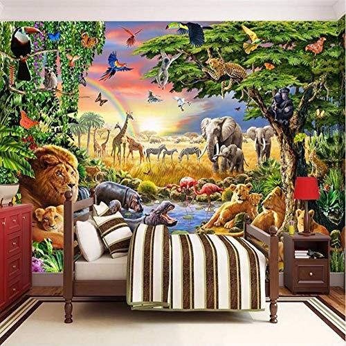 Eeemmm Benutzerdefinierte Fototapete Vliestapete 3D Cartoon Grünland Tier Lion Zebra Kinderzimmer Schlafzimmer Wohnkultur Wandmalerei-450(H)*300(W) Cm