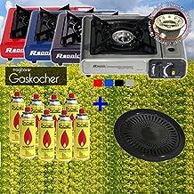 Gaskocher Campingkocher mit 8 Gaskartuschen Portable 2,5 KW + Grillaufsatz Grillplatte + Koffer