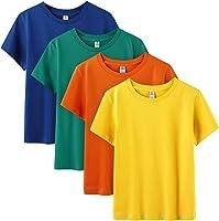 LAPASA Bambino 4 Pack T-Shirt in 100% Puro Cotone Unisex Girl & Boy da 4 a 12 Anni Girocollo Maniche Corte K01