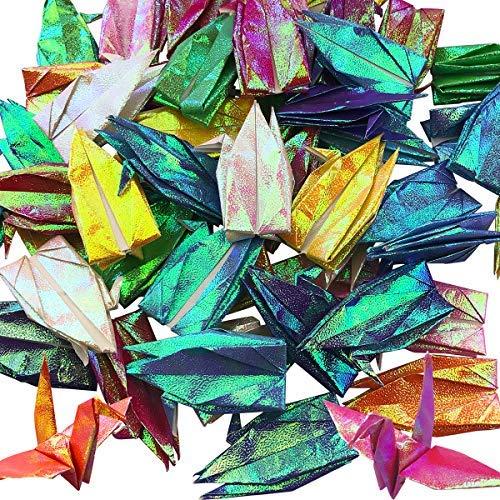 gami-Papierkrane, 8 Farbmischungen, handgefertigt, gefaltet, Origami-Papier, Kran-Girlande für Weihnachten, Hochzeit, Party, Hintergrund, Heimdekoration, verschiedene Farben farbe ()