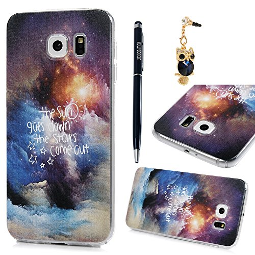 mollycoocle Galaxy S6Fall, Farbige Zeichnen Transparent Klar Harte PC Kunststoff Fall Full Body Deckung Ultra Slim Leichte Schutzhülle für Samsung Galaxy S6, Sea of Clouds