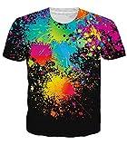 uideazone Unisex Sommer-T-Shirts-3d Print Bunte Splash Malerei Kurze Ärmel Hemd Cool L