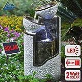 """FUENTE DE AGUA SOLAR - FUENTE SOLAR EXTERIOR - FUENTE DECORATIVA FUENTE EN CASCADA """"Columna en granito&cuencos"""" FUENTE DE AGUA DECORATIVA con batería Li-Ion & luz LED"""