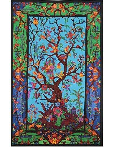 flber Baum des Lebens Indischen Mandala Wandbehang Tapisserie Stoff Tapete Tagesdecke Home Decor, 152,4x 203,2cm Twin Größe