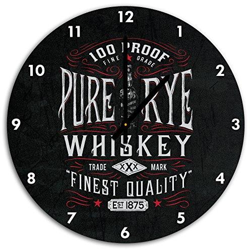 étiquette de whisky « seigle pur » Noir, horloge murale diamètre 48 cm avec aiguilles et cadran pointus noirs, article décoratif, horloge design, composite alu très belle pour le séjour, la chambre d'enfant, le bureau