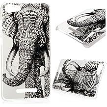 Wiko Lenny 2 Funda Cubierta - Lanveni Chic Elegante Carcasa Rigida PC ultra Slim para Wiko Lenny 2 Pintura Translúcido Protective Case Cover - Patrón elefante tribal Diseño
