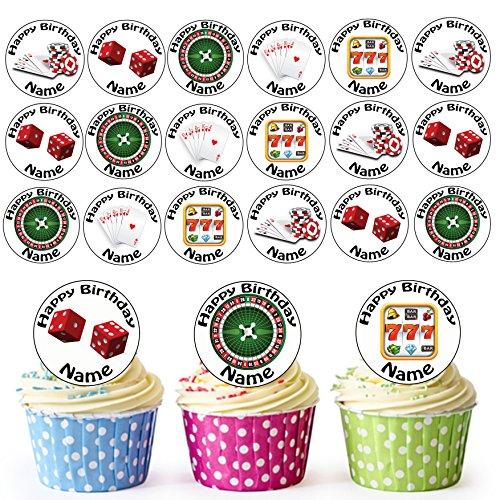 sonalisierter Glücksspiel Casino Mix - Essbare Cupcake Topper / Kuchendekorationen (24 Stück) ()