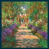 Bild mit Rahmen Claude Monet - Garten in Giverny - Digitaldruck - Holz blau, 110 x 110cm - Premiumqualität - Impressionismus, Garten, Garten des Künstlers, Monets Garten, Gartenweg, Blu.. - MADE IN GERMANY - ART-GALERIE-SHOPde