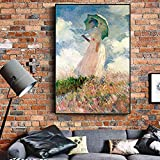 adgkitb canvas Mujer con sombrilla de Pared Pintura impresionista niña Pared Arte Lienzo para Sala de Estar Imprimir Imagen 50x70cm SIN Marco