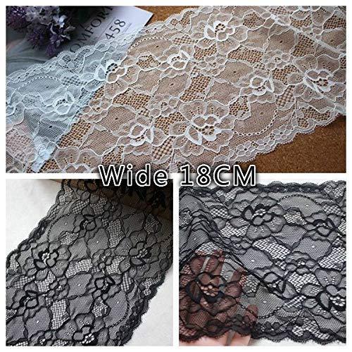 AiCheaX Lace Craft - 18CM Breite Weiß Schwarz Weiche Hautfreundliche Stretch Mesh Lace Ribbon DIY Handwerk Vorhänge Schal Brautkleid Schleier Nähzubehör - (Farbe: Schwarz)