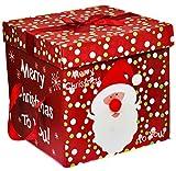 Large Premium Christmas Eve Gift Box, Lid & Ribbon Handles Xmas Present Wrapping (Red, Santa Head)