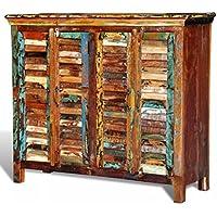 Luckyfu Kommode aus recyceltem Holz mit 4 Türen Gesamtabmessungen: 125 x 40 x 107 cm (L x W x H) Kommode Holztruhe... preisvergleich bei billige-tabletten.eu