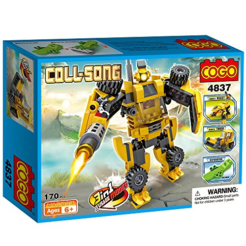 COGO 4837 Creator three in 1 COLL-SONG Boys Block Brick toys Constructing Bricks Blocks Building Robotic Introduction Calendar Christmas Present Birthday Present For boys Playset 170 Items