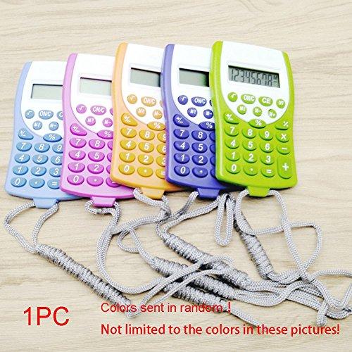 JINM Taschenrechner, 1 x Büro Mini-wissenschaftlicher Taschenrechner, Schule, Studenten, Mathematik-Taschenrechner, multifunktionale Uhr mit Riemen, 10 cm x 6 cm, zufällige Farbe