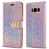 LCHULLE Coque pour Samsung Galaxy A3 2017 Étui à Rabat en Cuir PU Brillante Diamant...