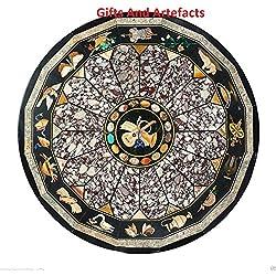 Única hecha a mano mesa de comedor parte superior 60cm redondo de mármol negro incrustaciones Pietra Dura arte