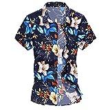 Cloudstyle Herren Urlaub Strand Hawaii Blattaufdruck-Hemd (XX-Large, 666blau)