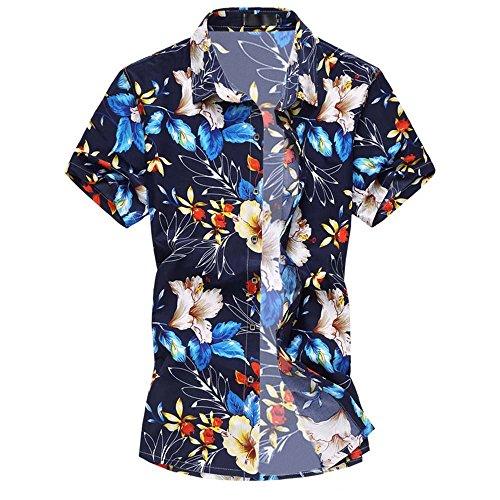 laub Strand Hawaii Blattaufdruck-Hemd (XX-Large, 666blau) (Kostüm Hawaii)