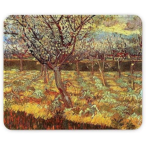 Van Gogh - Apricot Trees In Blossom, Pelle Mouse Pad Tappetino per Mouse Mouse Mat con Immagine Colorato Antiscivolo in Gomma di Base compatibile con Apple Magic Mouse. Ideale per Giocare 250 x 190mm.