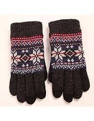 Gants hiver en laine pour hommes Gants tricot flocon de chaleur intérieur rembourré gants écran tactile Jacquard