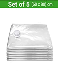 TIED RIBBONS Vacuum Compressed Space Saver Storage Bags Ideal for Clothes, Duvets, Bedding, Pillows, Curtains and Travelling Set of 5(60 cm X 80 cm) Pump Not Included