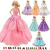 Miunana Bambola Barbie Dolls Abiti Vestiti Scarpe Accessori (3 Abito Da Sposa + 5 PCS Scarpe)
