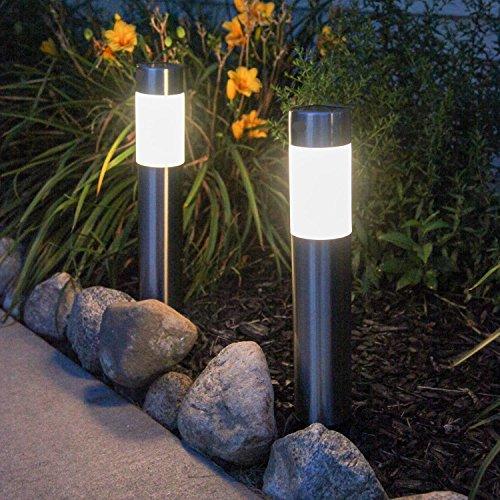 Garden Mile® Large 40cm Modern Brushed Steel Solar Powered Garden Post  Lights Super Bright Driveway Marker Solar Lampost Stake Outdoor Lighting  Set Driveway ...