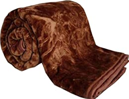 DRaX Luxurious Embossed Jaipuri Razai Mink Microfibre Double Bed Blanket - Brown
