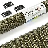 Paracord 550 - Set iniziale paracord corda in tinta unita con 3chiusure a scatto, per guinzaglio o collare per cani fai da te / corda con filo 4mm spessore / corda multiuso / corda con 7corde interne per sopravvivenza / Corda paracadute portata fino a 250kg (250kg) / nucleo resistente / corda con 3chiusure a scatto in plastica (3/8–10mm) / disponibile in vari colori, marca Ganzoo, Army-Green, 15 metri