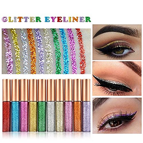 MS.DEAR Glitter Liquid Eyeliner Liquid Set,10 PCS Long Lasting Waterproof Sparkling Eyeliner Eye Shadow Pen for Wedding Party Cosplay Makeup Eye Liner – 10 Color