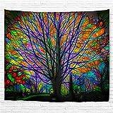 Amknn - Telo colorato con stampa foresta psichedelica, non realistica, stile Boemia mandala, per decorare il soggiorno, la camera da letto, ecc., Colorful Tree Tapestry, 180x200cm