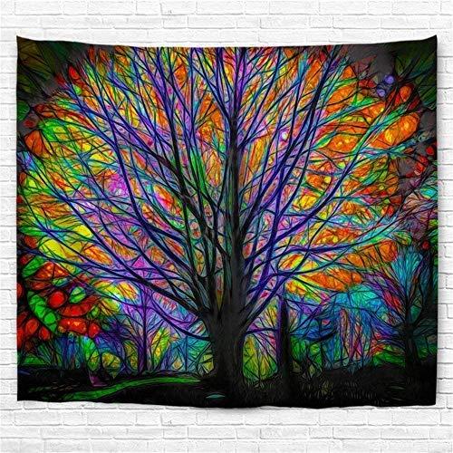 Amknn Psychedelic Tapisserie Bohemian Mandala Hippie Tapisserie, bunt, Baum Wandteppich für Psychedelic Forest Birds Wand Schlafzimmer Wohnzimmer Decor, Colorful Tree Tapestry, 180x200cm